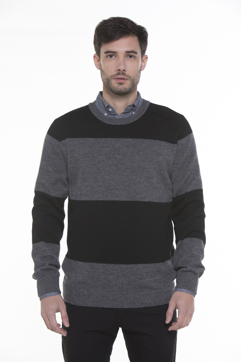 Hank Striped 100% Cashllama Crew-Neck Sweater