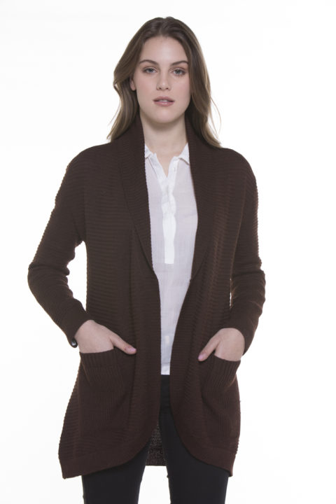 Ilian 100% Cashllama Open Ribbed Cardigan_Brown