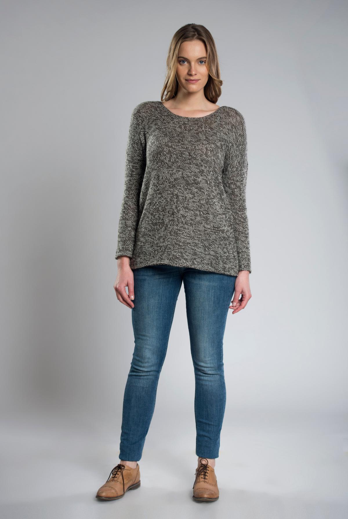 Kira 100% Baby Llama Marble Grey Sweater